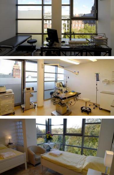 Fotocollage der Klinikräume in der Privatklinik-Schloßstraße Berlin
